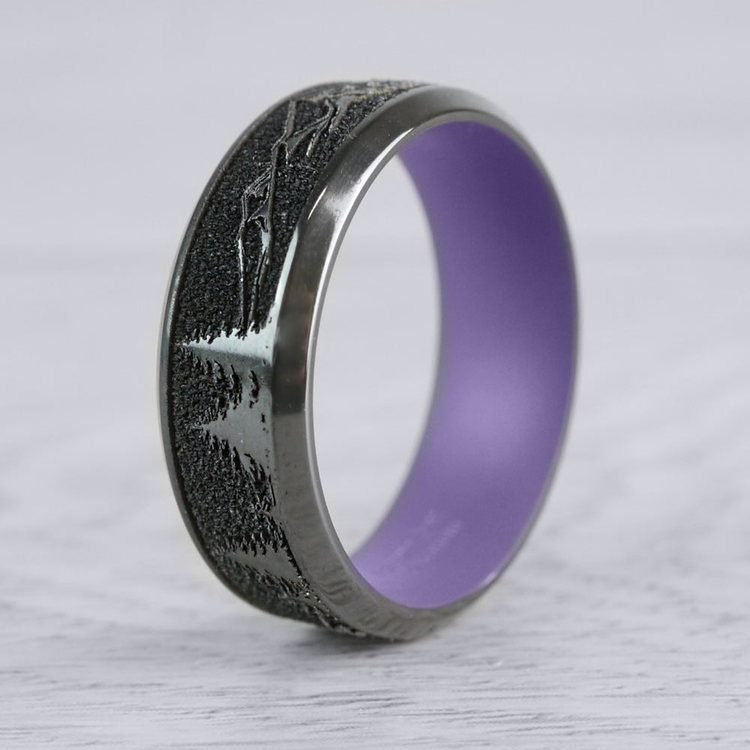 Dragon's Peak - Laser Carved Zirconium Mens Band with Purple Sleeve | 04