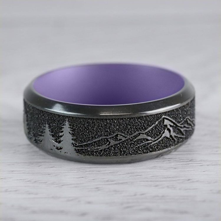 Dragon's Peak - Laser Carved Zirconium Mens Band with Purple Sleeve | 05
