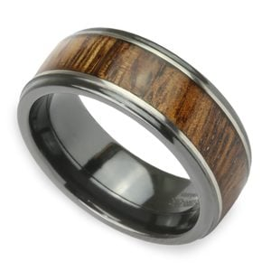 Drifter - Zirconium Mens Band with Koa Wood Inlay