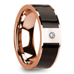 Ebony Wood Inlaid Men's Wedding Ring in Rose Gold with Diamond Center | Thumbnail 02