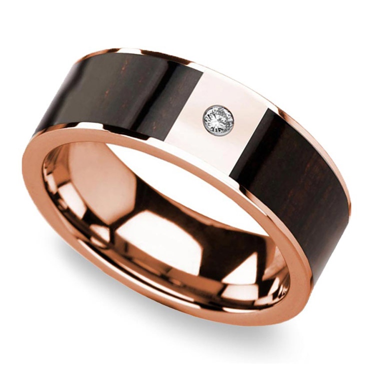 Ebony Wood Inlaid Men's Wedding Ring in Rose Gold with Diamond Center | 01