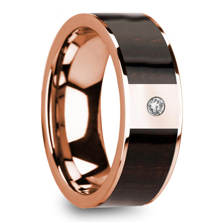 Ebony Wood Inlaid Men's Wedding Ring in Rose Gold with Diamond Center | 02
