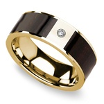 Ebony Wood Inlay Men's Wedding Ring in Yellow Gold with Diamond Center | Thumbnail 01