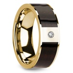 Ebony Wood Inlay Men's Wedding Ring in Yellow Gold with Diamond Center | Thumbnail 02