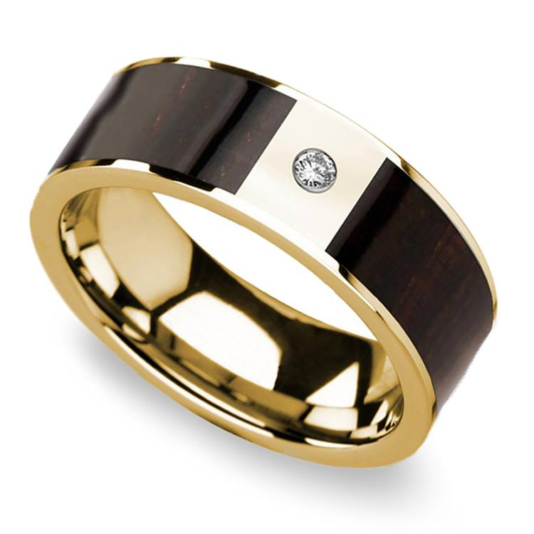 Ebony Wood Inlay Men's Wedding Ring in Yellow Gold with Diamond Center | 01