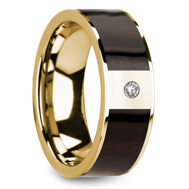 Ebony Wood Inlay Men's Wedding Ring in Yellow Gold with Diamond Center | 02