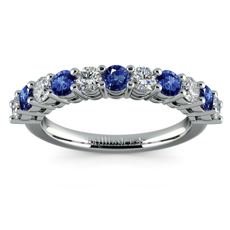 Eleven Diamond & Sapphire Wedding Ring in White Gold | 02