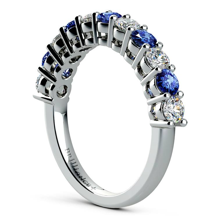 Eleven Diamond & Sapphire Wedding Ring in White Gold | 04