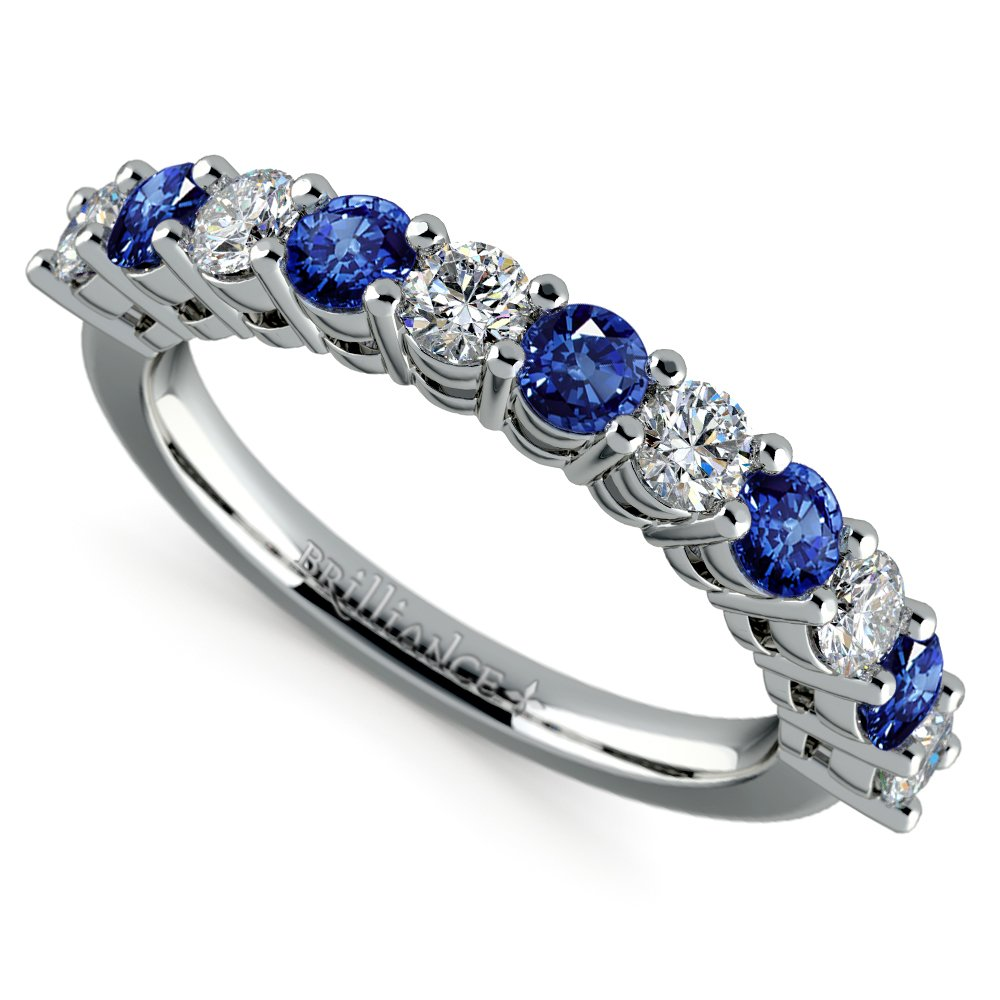 Eleven Diamond Sapphire Wedding Ring In White Gold