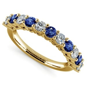 Eleven Diamond & Sapphire Wedding Ring in Yellow Gold