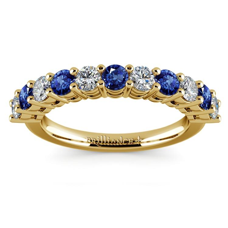 Eleven Diamond & Sapphire Wedding Ring in Yellow Gold | 02