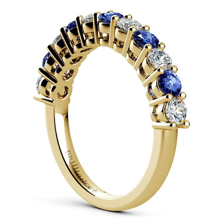 Eleven Diamond & Sapphire Wedding Ring in Yellow Gold | 04