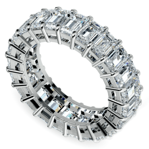 Emerald Diamond Eternity Ring in Platinum (7 3/5 ctw)