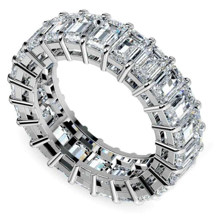 Emerald Diamond Eternity Ring in White Gold (7 3/5 ctw) | 01