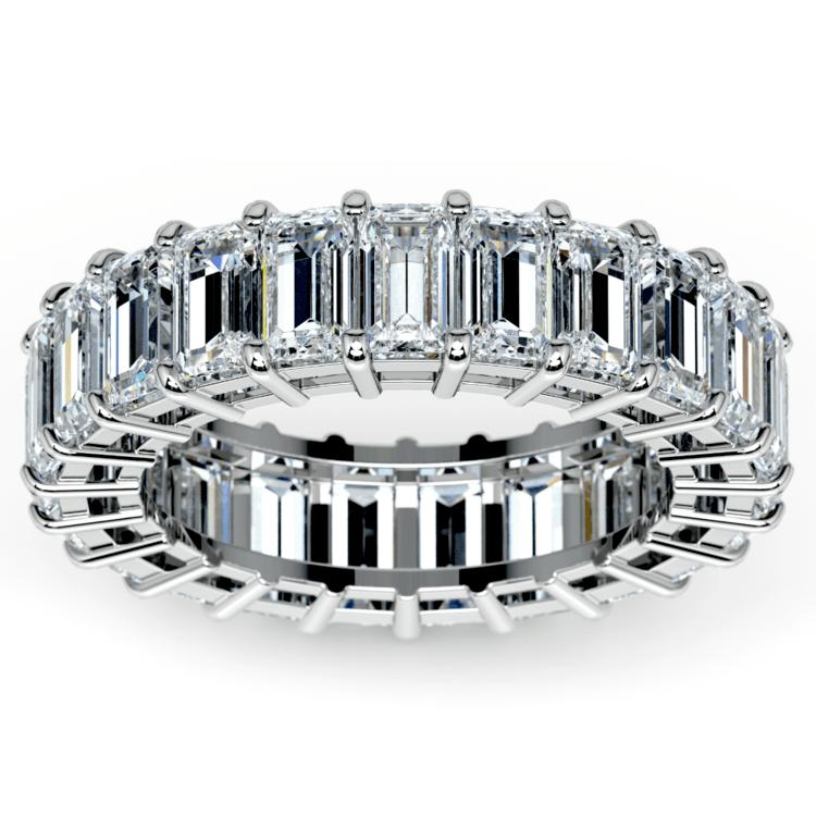 Emerald Diamond Eternity Ring in White Gold (7 3/5 ctw) | 02