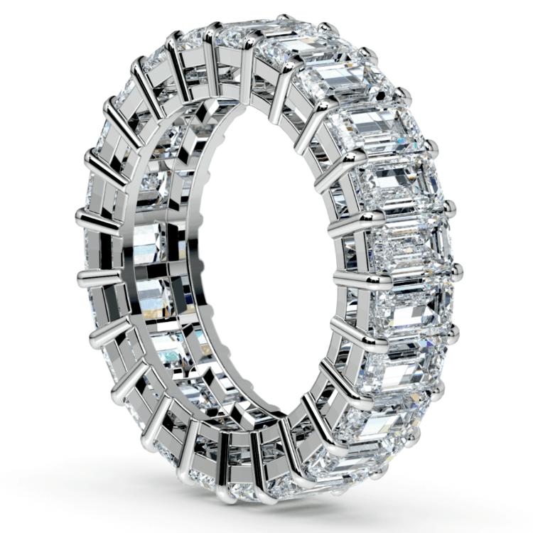 Emerald Diamond Eternity Ring in White Gold (7 3/5 ctw) | 04
