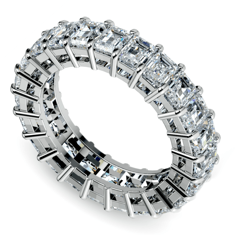 Emerald Diamond Eternity Ring in White Gold (5 2/3 ctw) | 01