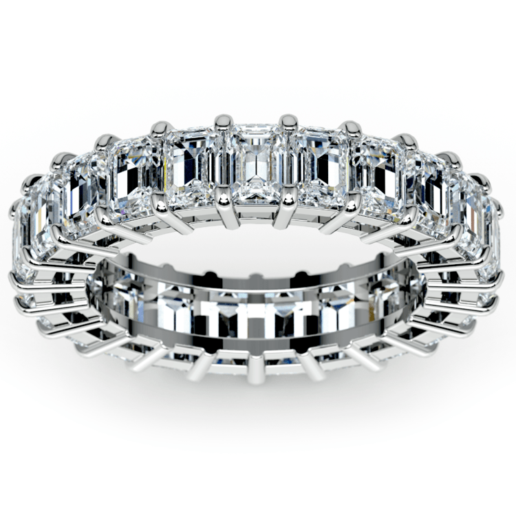 Emerald Diamond Eternity Ring in White Gold (5 2/3 ctw) | 02
