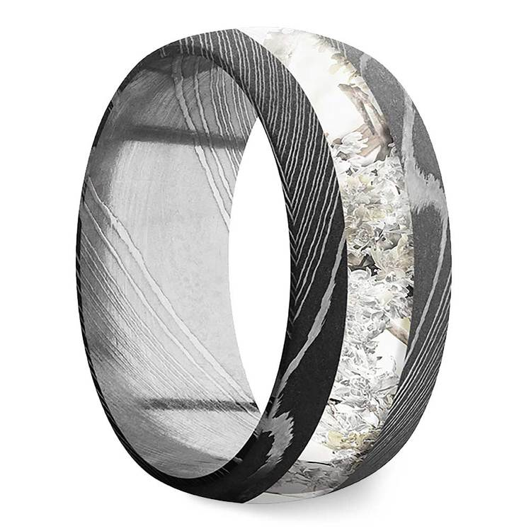 Endless Winter -  Damascus Steel Mens Band with Snow Camo Inlay | 02