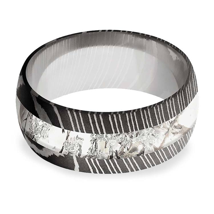 Endless Winter -  Damascus Steel Mens Band with Snow Camo Inlay | 03