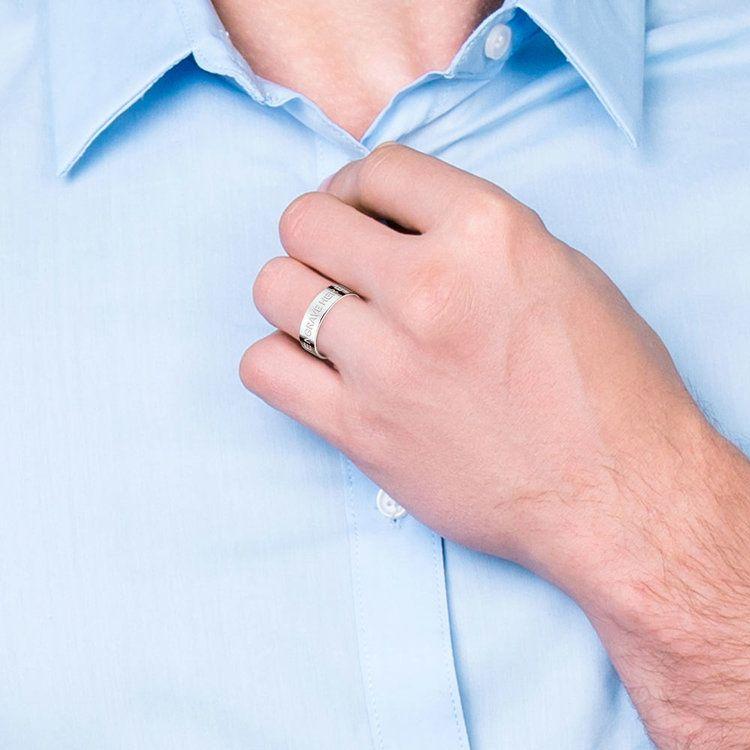 Engraved Flat Men's Wedding Ring in Platinum   05