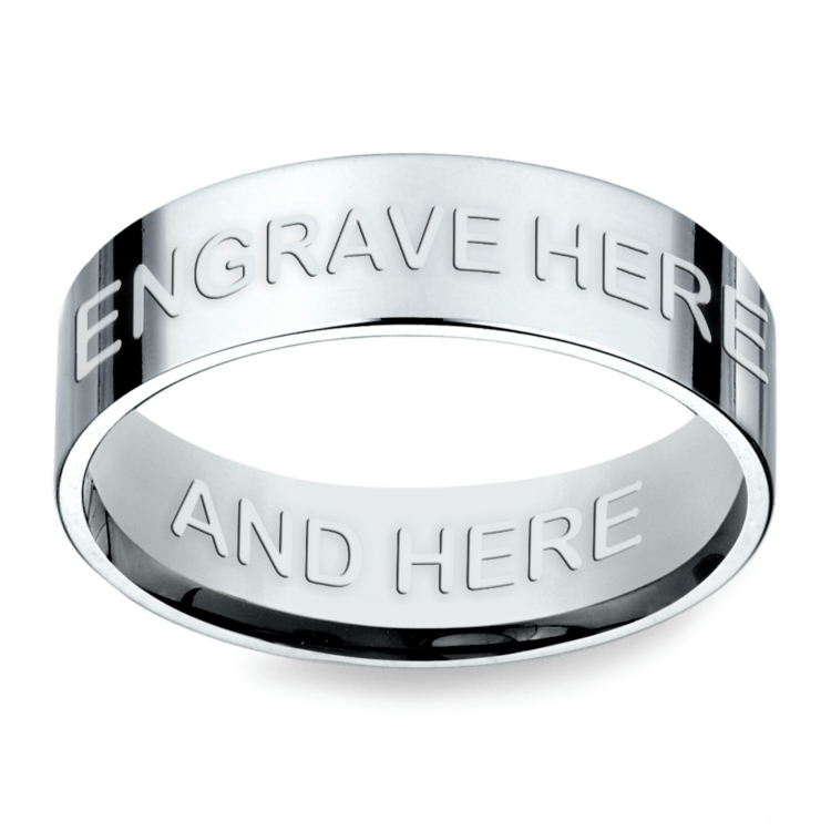 Engraved Flat Mens Wedding Ring in Platinum