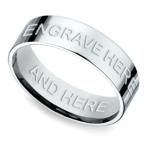 Engraved Flat Men's Wedding Ring in White Gold | Thumbnail 01