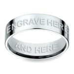Engraved Flat Men's Wedding Ring in White Gold | Thumbnail 02