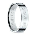 Engraved Flat Men's Wedding Ring in White Gold | Thumbnail 03