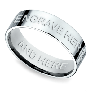 Engraved Flat Men's Wedding Ring in White Gold