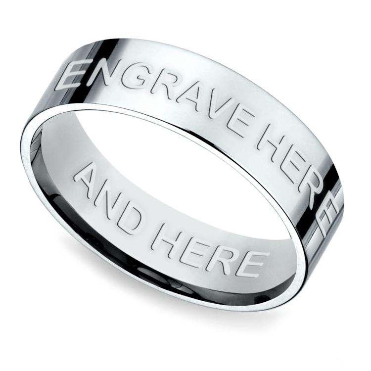 Engraved Flat Men's Wedding Ring in White Gold | 01