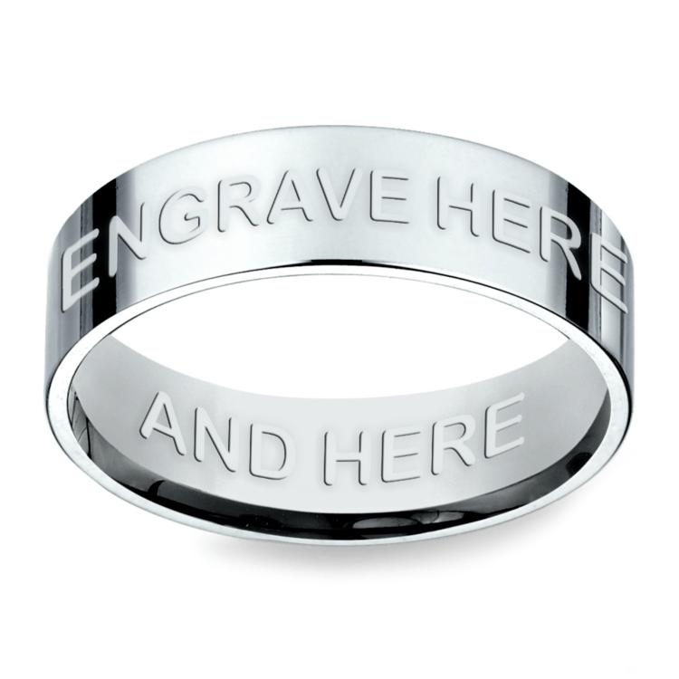 Engraved Flat Men's Wedding Ring in White Gold | 02