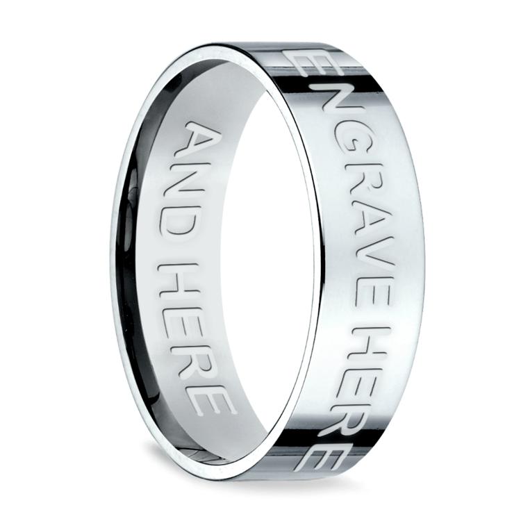 Engraved Flat Men's Wedding Ring in White Gold | 03