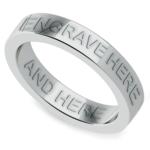 Engraved Flat Wedding Ring in Platinum (4mm) | Thumbnail 01