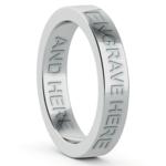 Engraved Flat Wedding Ring in Platinum (4mm) | Thumbnail 03