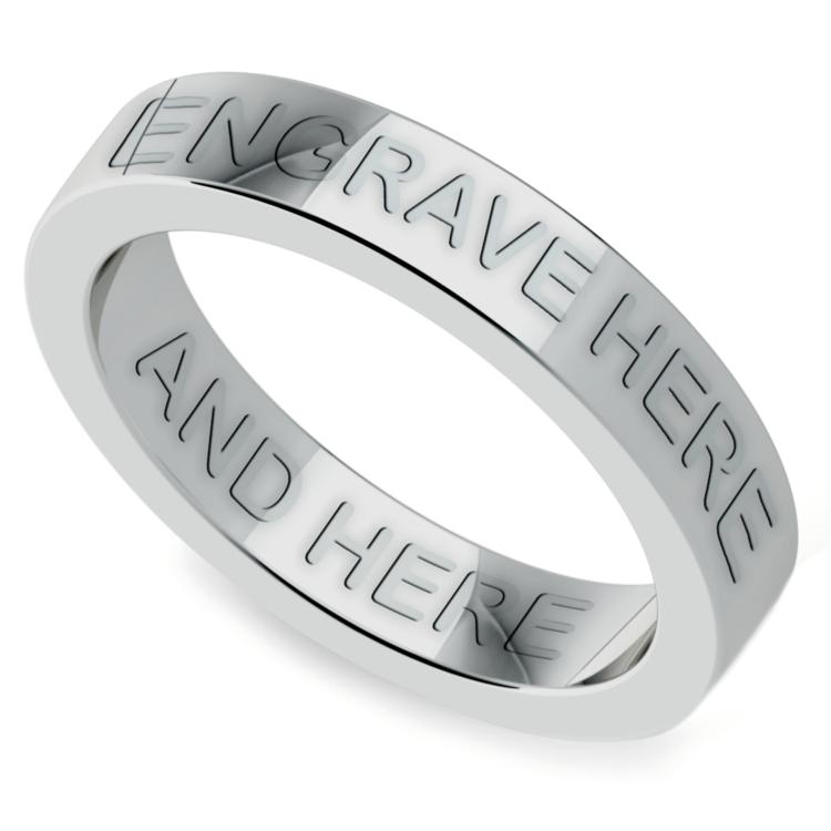 Platinum 4mm Wedding Band: Engraved Flat Wedding Ring In Platinum (4mm