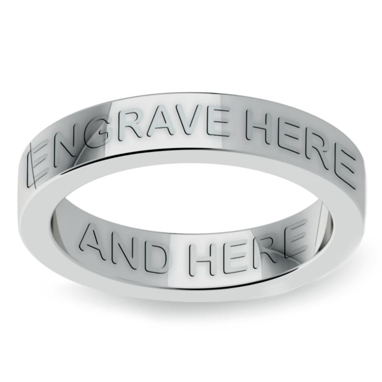 Engraved Flat Wedding Ring in Platinum (4mm) | 02