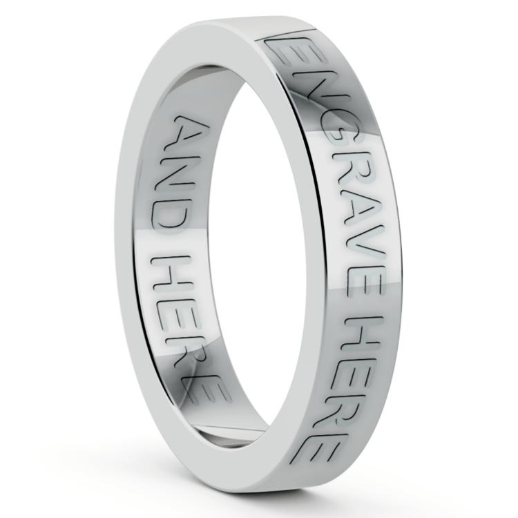 Engraved Flat Wedding Ring in Platinum (4mm) | 03