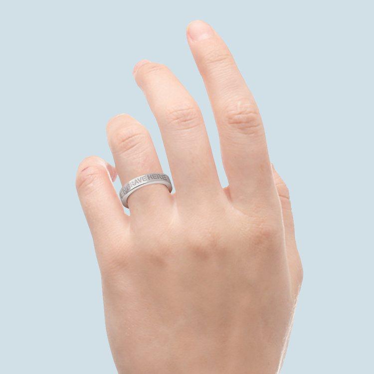 Engraved Flat Wedding Ring in Platinum (4mm) | 04