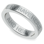Engraved Flat Wedding Ring in White Gold (4mm) | Thumbnail 01