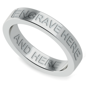 Engraved Flat Wedding Ring in White Gold (4mm)