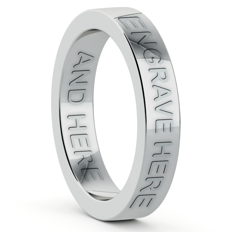 Engraved Flat Wedding Ring in White Gold (4mm) | 03