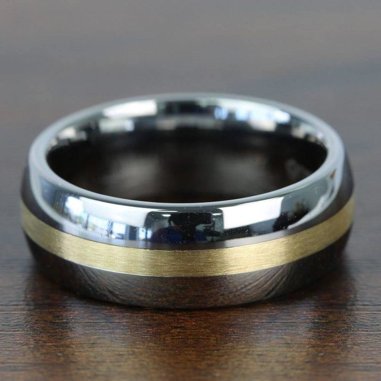Equator - Rounded Tungsten Mens Band with 14K Brushed Yellow Gold Inlay | 03