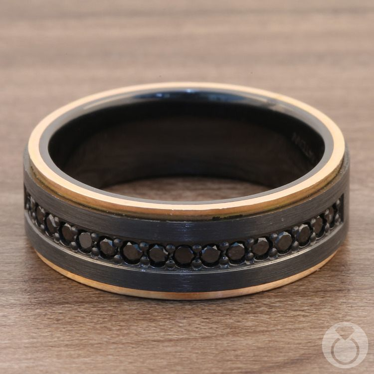 Monarch - Black Diamond Zirconium Mens Wedding Band | 04