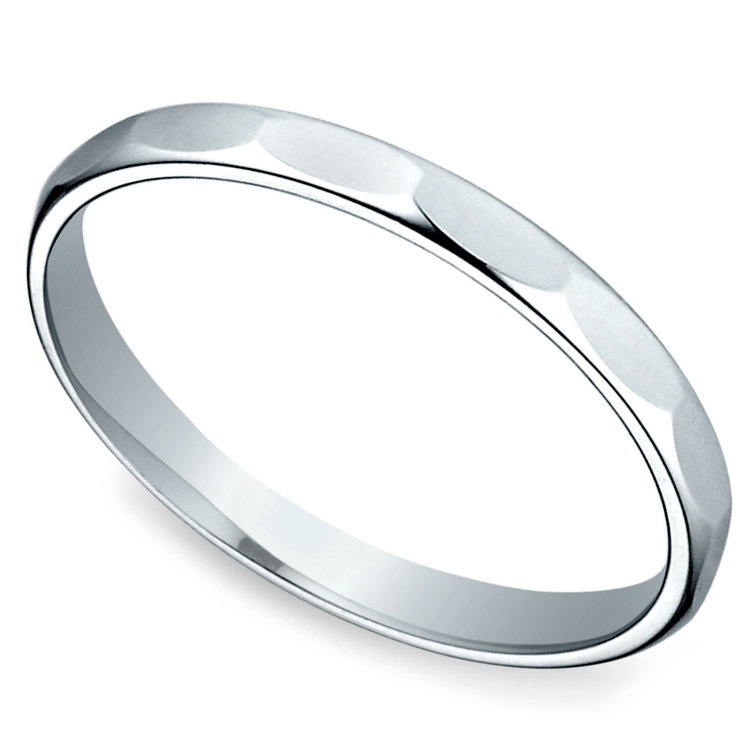 Faceted Women's Wedding Ring in White Gold | 01