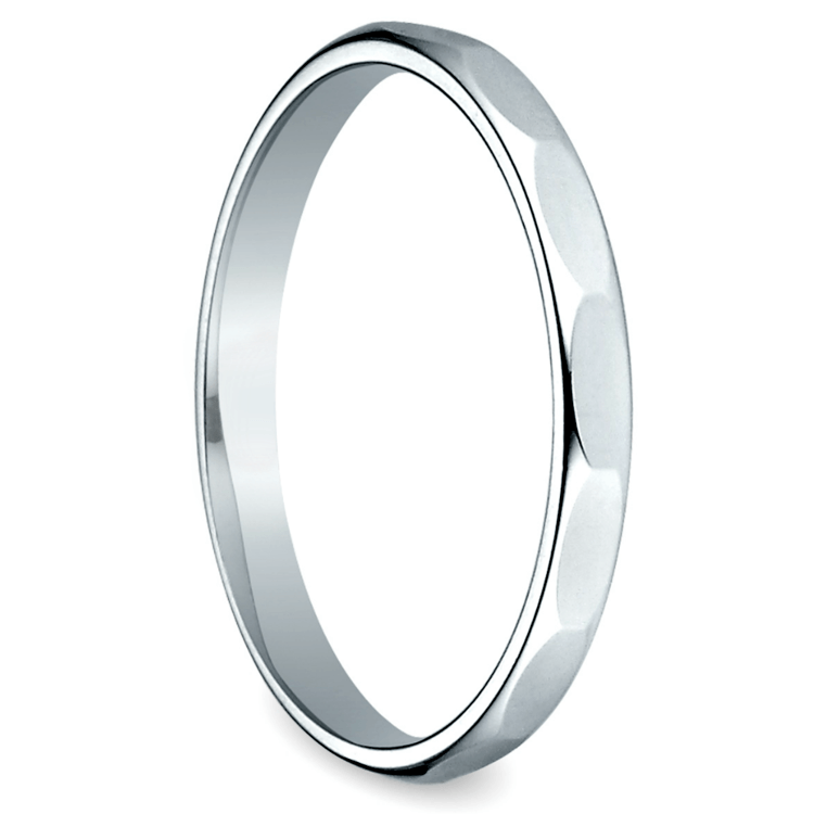 Faceted Women's Wedding Ring in White Gold | 02