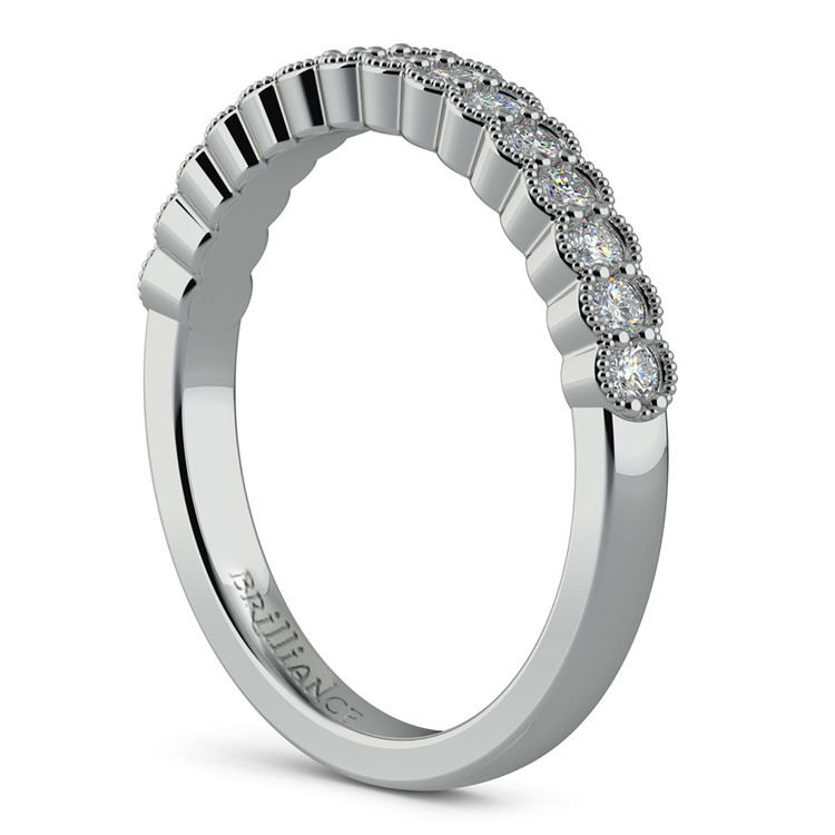 False Bezel Milgrain Diamond Band in Platinum | 04