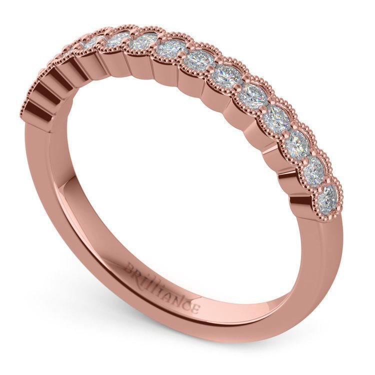 False Bezel Milgrain Diamond Band in Rose Gold | 01