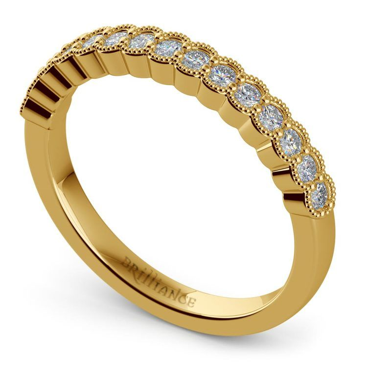 False Bezel Milgrain Diamond Band in Yellow Gold | 01