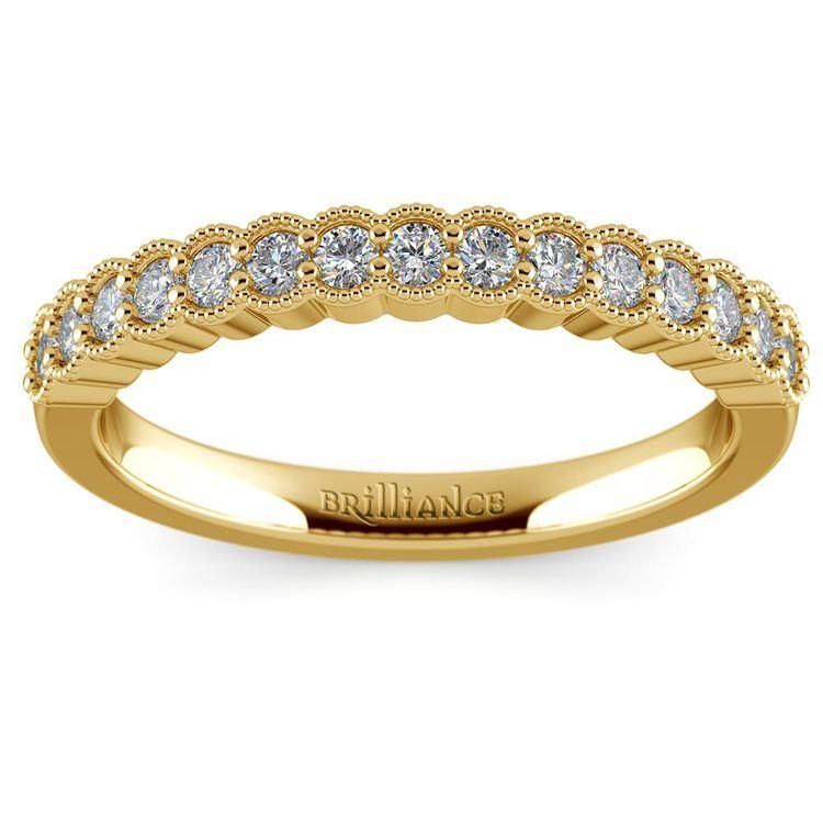 False Bezel Milgrain Diamond Band in Yellow Gold | 02